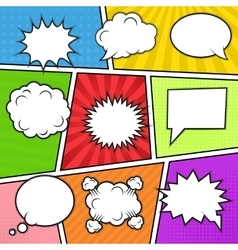 Speech bubbles at colorful background vector