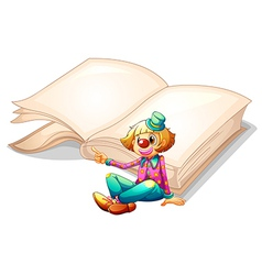 A clown with a book at the back vector image vector image
