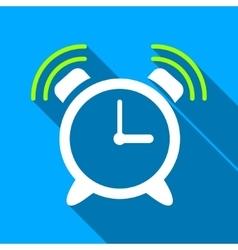 Alarm clock ring flat long shadow square icon vector