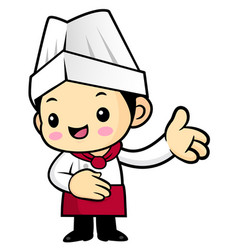 Cartoon chef character give guidance isolated on vector