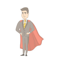 Caucasian businessman dressed as a superhero vector