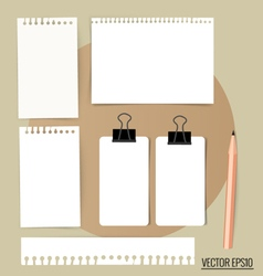 Collection of various white note papers ready for vector image vector image