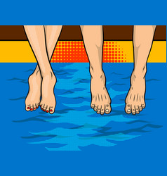 couple on the pier pop art style vector image