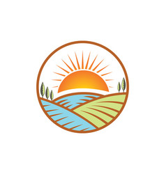 Farm nature landscape logo vector