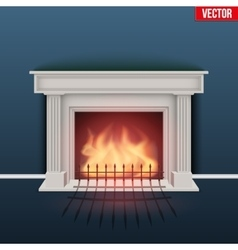 Fireplace in house cozy room vector