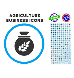 Grain harvest sack rounded icon with set vector