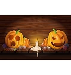 Halloween Pumpkins In Wooden Barn Composition vector image
