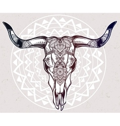 Hand drawn romantic style ornate cow skull vector