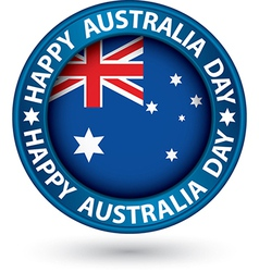 Happy Australia Day blue label vector image