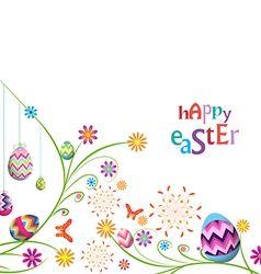 Happy easter eggs with floral background vector
