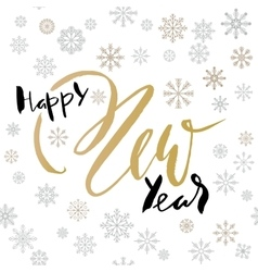 Happy New Year handwritten lettering design with vector image