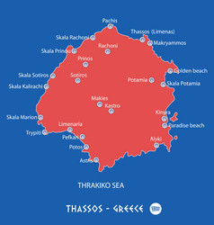 Island of thassos in greece red map vector