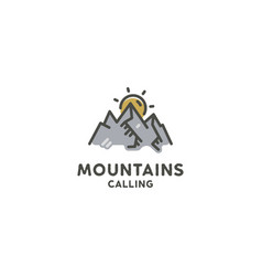 Mountains are calling flat concept cute line art vector