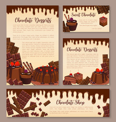 Poster for chocolate desserts bakery vector