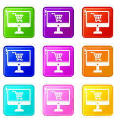 Purchase at online store through computer icons vector