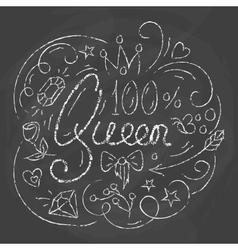 Queen Typography Design Lettering print for vector image