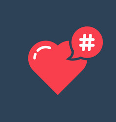 Red hashtag icon like heart vector