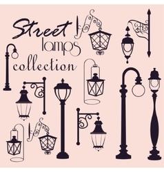 Retro and modern street lanterns vector