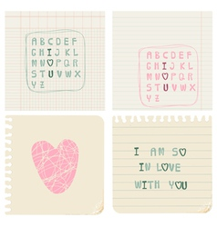 set of hand-written love cards vector image