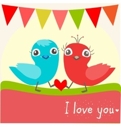 two little birds in love vector image vector image