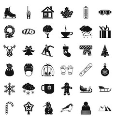 Winter weather icons set simple style vector