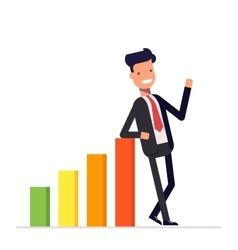 Businessman or manager stands by positive earnings vector