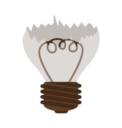 silhouette contour broken bulb with resistence vector image