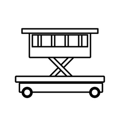 Lifting platform trolley stock warehouse outline vector