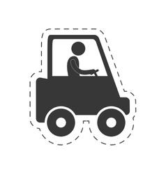Man worker drive truck transport figure pictogram vector