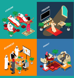 Arab people lifestyle isometric design concept vector
