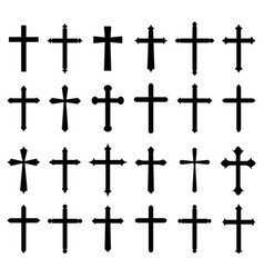 religion cross icon set vector image