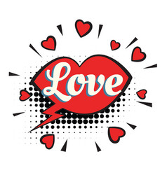 Love text heart lips comic word vector
