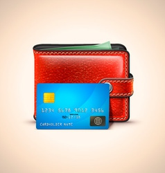 Leather wallet with credit card vector