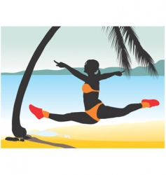 girl jumping vector image
