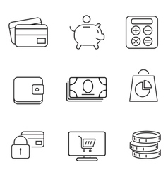 Shopping 9 thin icons set vector