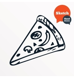 Hand drawn piece of pizza sketched pizza slice vector