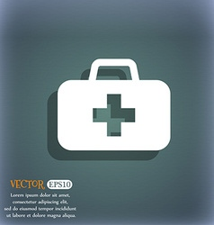 Medicine chest icon symbol on the blue-green vector