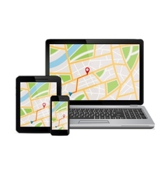 Digital devices with gps navigation map vector