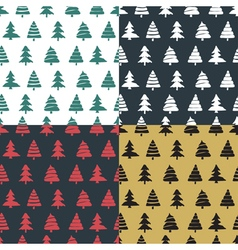 Set fir tree seamless pattern colorful vector