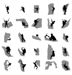 Climbers silhouette set simple style vector image