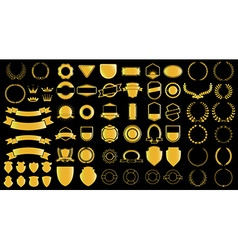 Gold style ladels and badjes generator vector