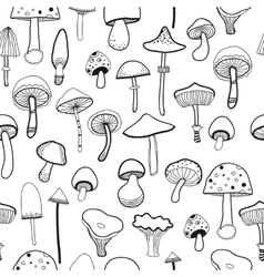 Black and white seamless pattern mushrooms for vector