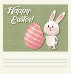 cartoon happy easter cute bunny egg decorative vector image vector image
