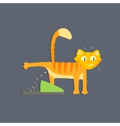 Cat peeing image vector