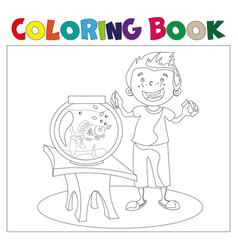 child looking at an aquarium coloring book vector image