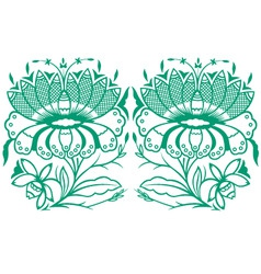 Classical oriental flower set vector