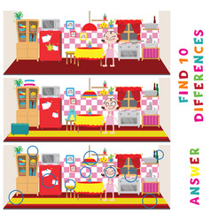 Find ten differences learning game for kids vector