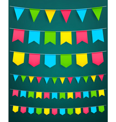 Flag garland for festival celebration decor vector