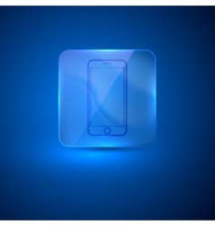 Glass icon with mobile phone sign vector