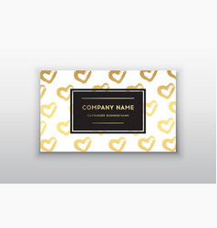 golden business card with heart vector image vector image